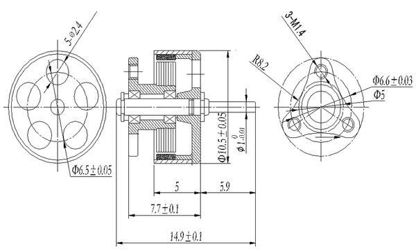 RecoverLOVE 75mm 2S Kit de Moteur de Drone BNF 0802 pour Drone BNF 0802 avec Moteur brushless Whoop Racer Indoor Happymodel Mobula contr/ôleur de vol Compatible